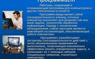 Главный программист. описание профессии главный программист