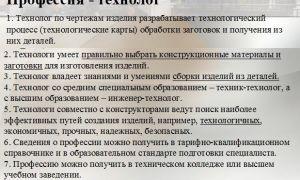 Главный технолог. описание профессии главный технолог